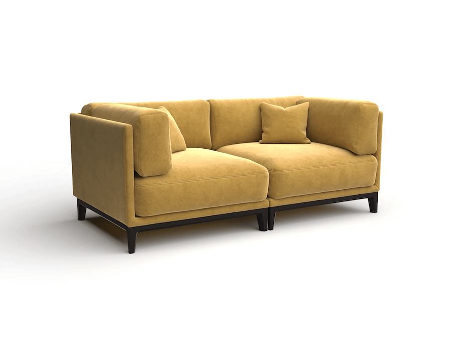 yellow sofa packshot on the side